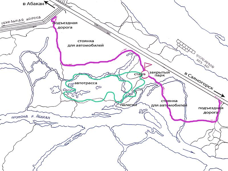 Трасса Абаканская протока, джип-триал